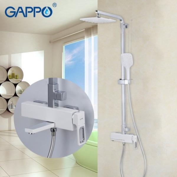Душевая система излив является переключателем на лейку белый/хром gappo g2417-8