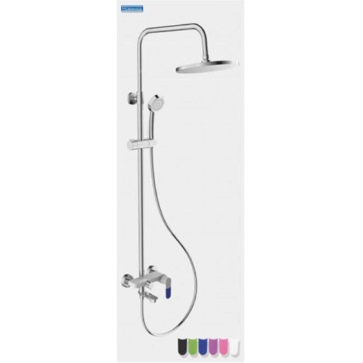 Душевая система излив является переключателем на лейку белый/хром (в комплекте 6 цветных накладок на ручку) frap f2434