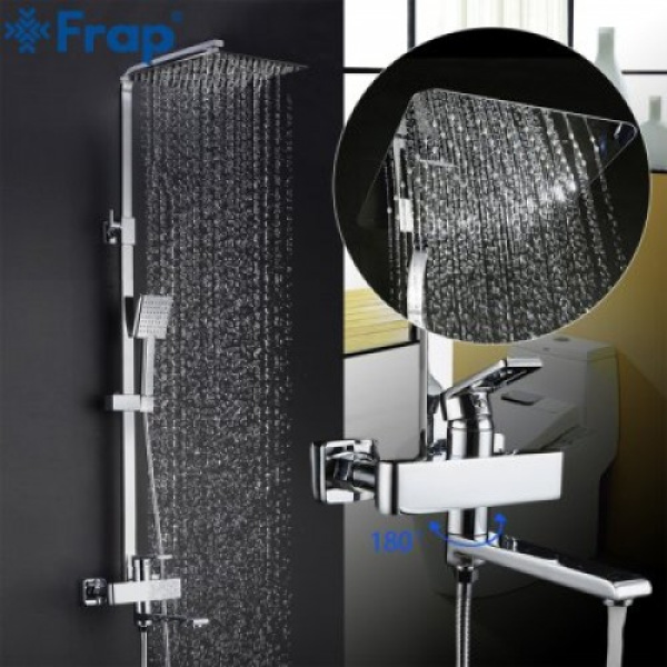 Душевая система излив является переключателем на лейку или верхний душ хром frap f2415-2