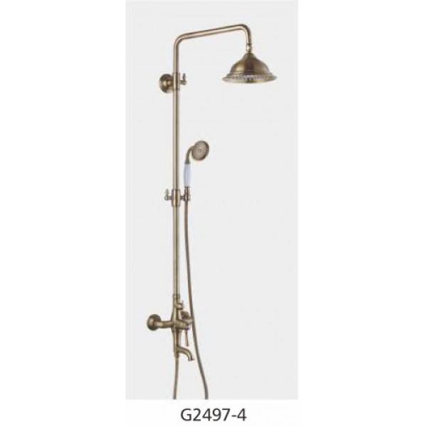 Душевая система с хрустальными ручками излив является переключателем на лейку бронза gappo g2497-4