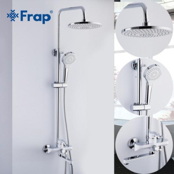 Душевая система с поворотным изливом на 180 град, смесителем, верхним душем и ручной лейкой белый/хром frap f2441
