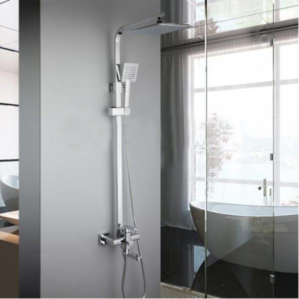 Душевая система с поворотным изливом на 180 градусов, смесителем, верхним душем и ручной лейкой сатин  frap f2421