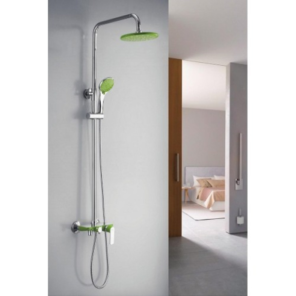 Душевая система с поворотным изливом на 360 град., смесителем, верхним душем и ручной лейкой зеленый/хром frap f2433