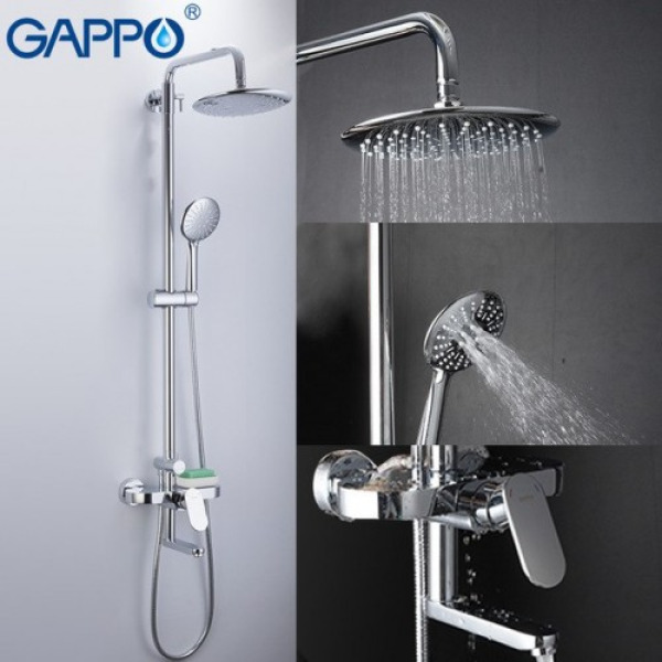 Душевая система с верхним душем, смесителем и ручной лейкой хром gappo g2419