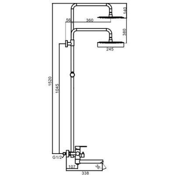 Душевая система с верхним душем смесителем и ручной лейкой из нержавеющей стали f24801