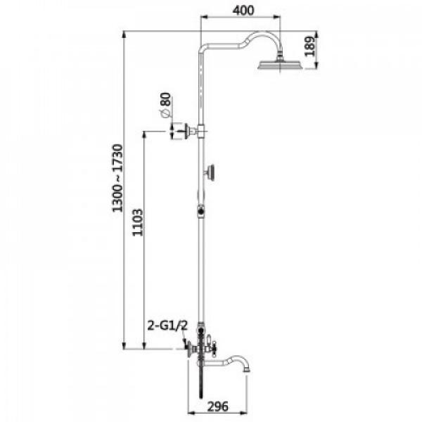 Душевая система с верхним душем смесителем и ручной лейкой золото g2489-6
