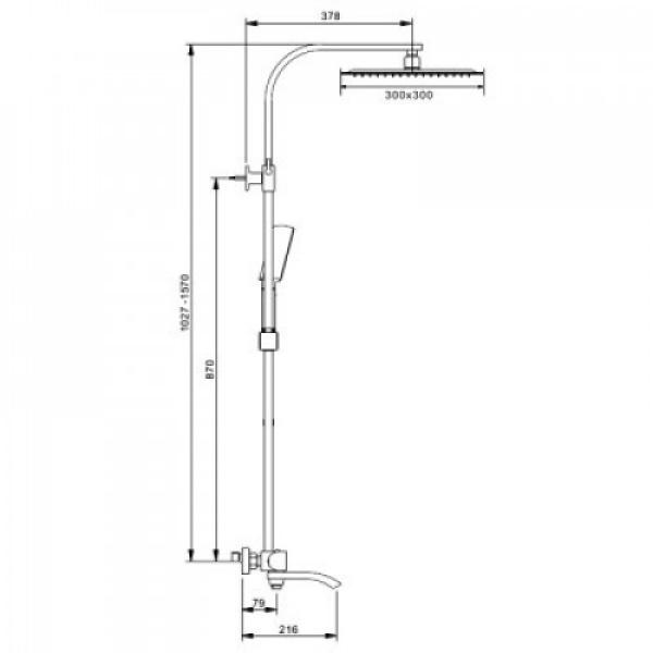 Душевая система с верхним душем, термостатом и ручной лейкой, излив является переключателем на лейку хром gappo g2407-40