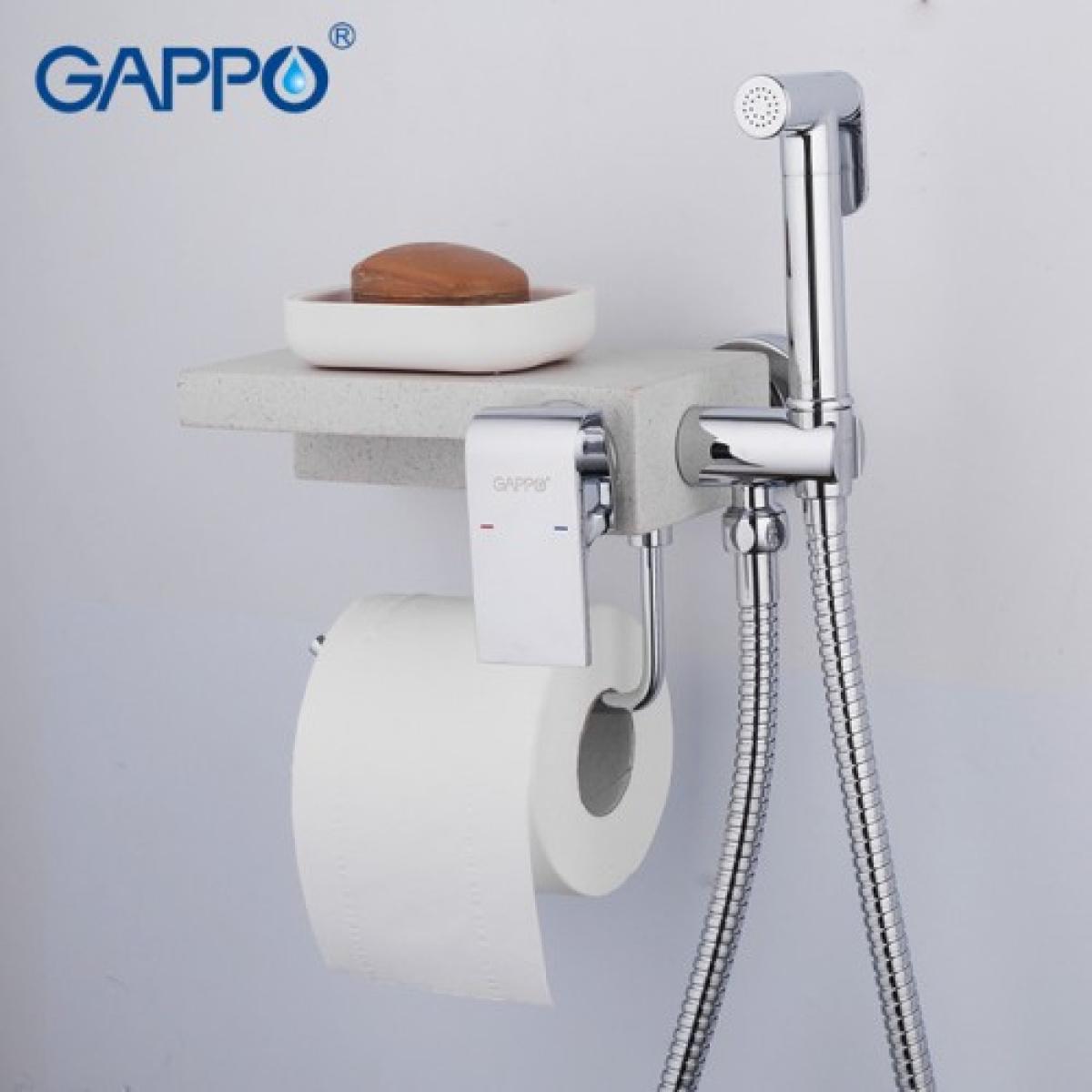 Гигиенический душ с бумагодержателем белый (кварц)/хром gappo g7296