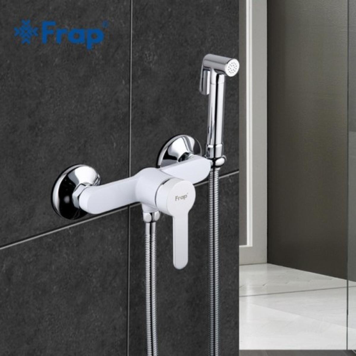 Гигиенический душ со смесителем белый/хром frap f2041-8