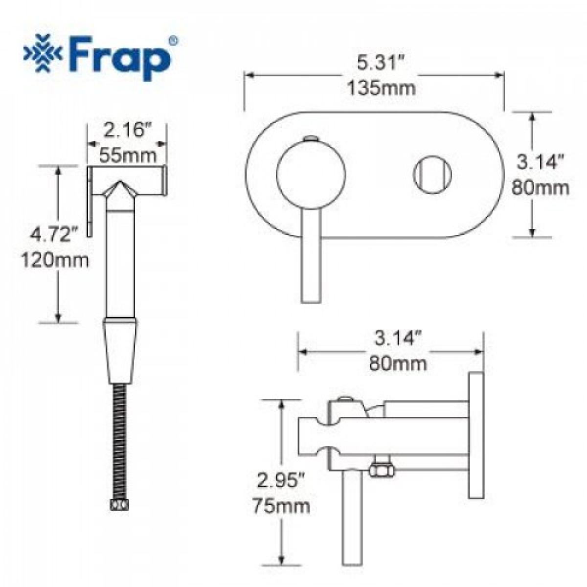 Гигиенический душ со смесителем латунь/хром frap f7505