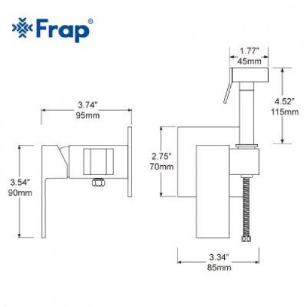 Гигиенический душ со смесителем латунь/хром frap f7506