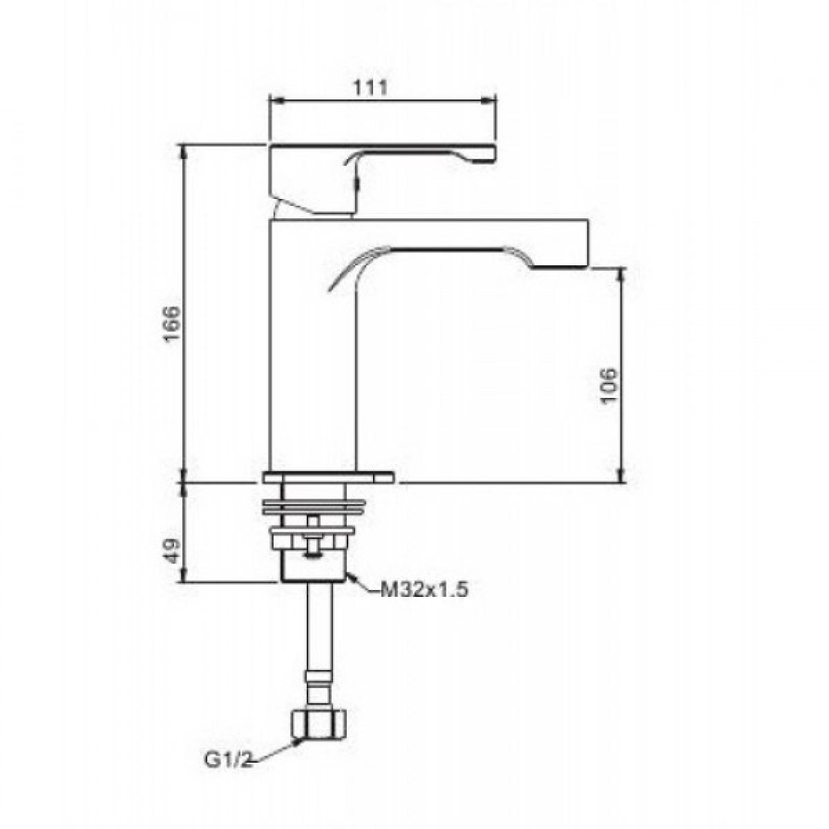 Смеситель для раковины с гайкой белый/хром g1002-8