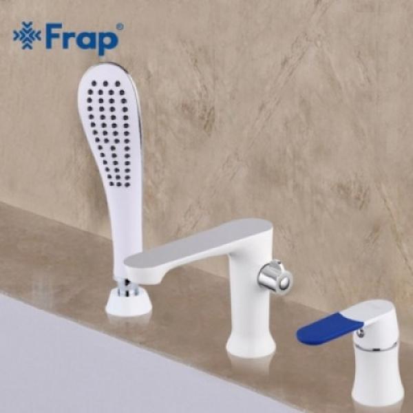 Смеситель для ванны на 3 отверстия белый/хром frap f1134
