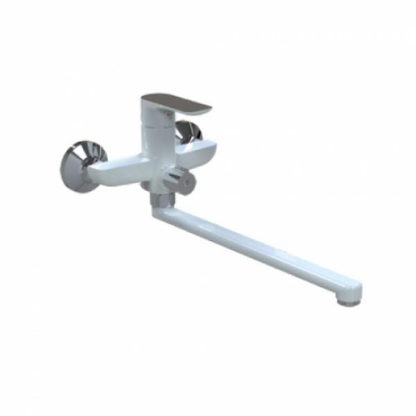 Смеситель для ванны с изливом 35 см и переключателем в корпусе белый/хром gappo g2248