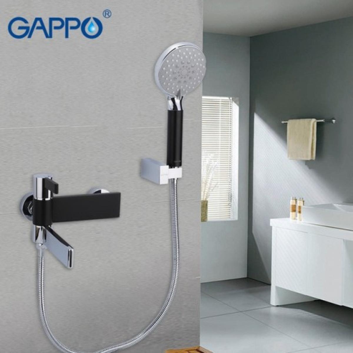 Смеситель для ванны с изливом служит переключателем на лейку черных/хром gappo g3281