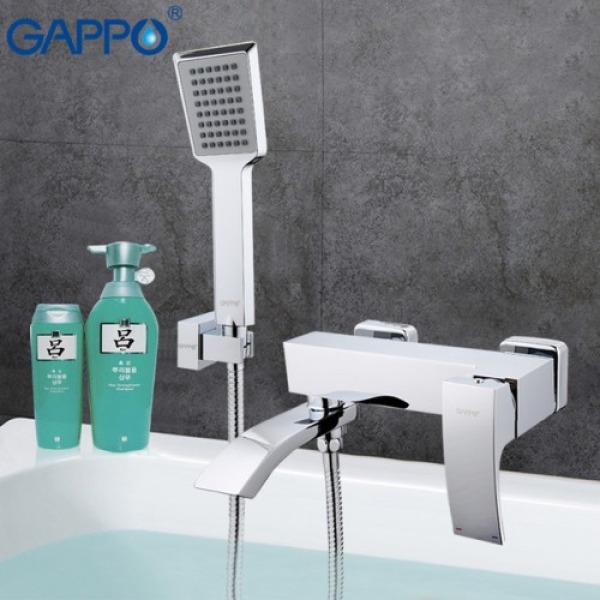 Смеситель для ванны с изливом служит переключателем на лейку хром gappo g3207