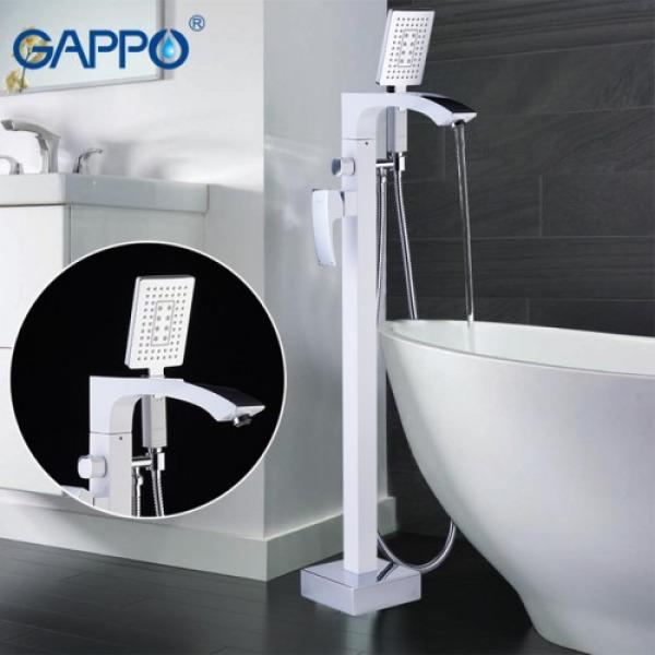 Смеситель напольный для ванной белый/хром gappo g3007-8