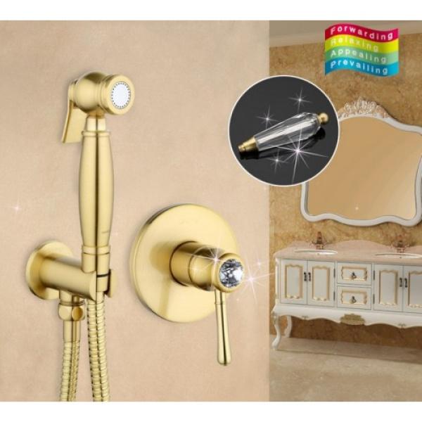 Встроенный гигиенический душ с хрустальными ручками бронза gappo g7297-4