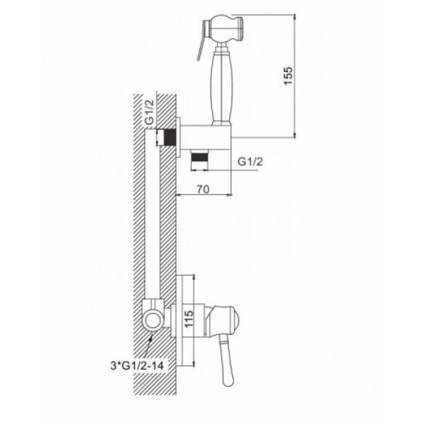 Встроенный гигиенический душ с хрустальными ручками хром gappo g7297