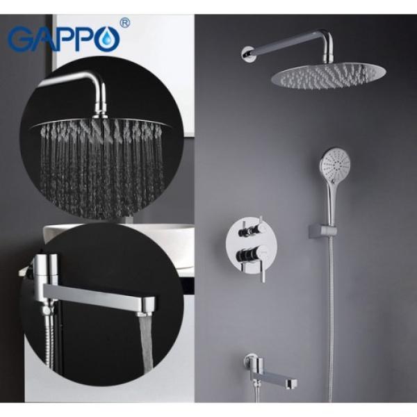 Встроенный смеситель для ванны с 3 функциями излив является переключателем на лейку хром gappo g7104