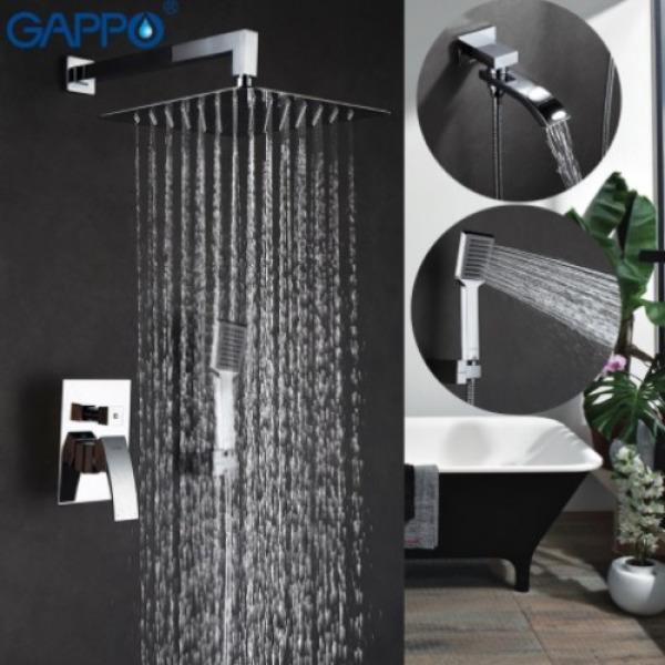 Встроенный смеситель для ванны с 3-функциями излив является переключателем на лейку хром gappo g7107